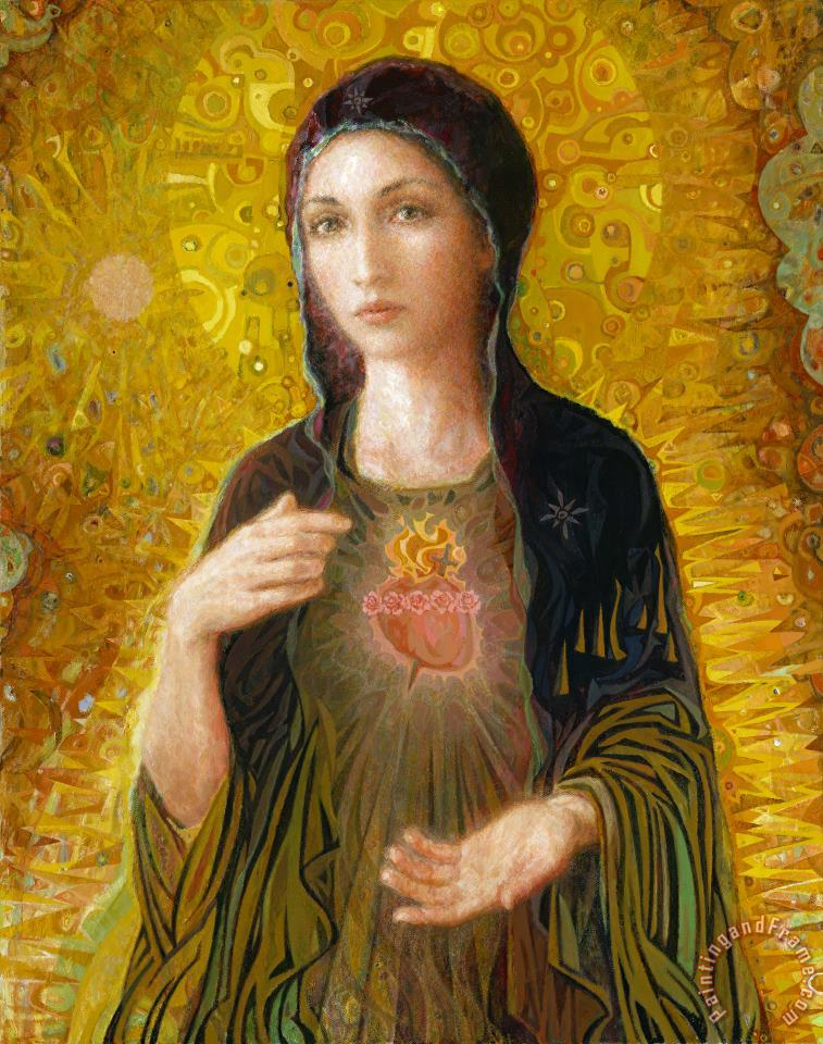 Immaculate Heart of Mary painting - Smith Catholic Art Immaculate Heart of Mary Art Print