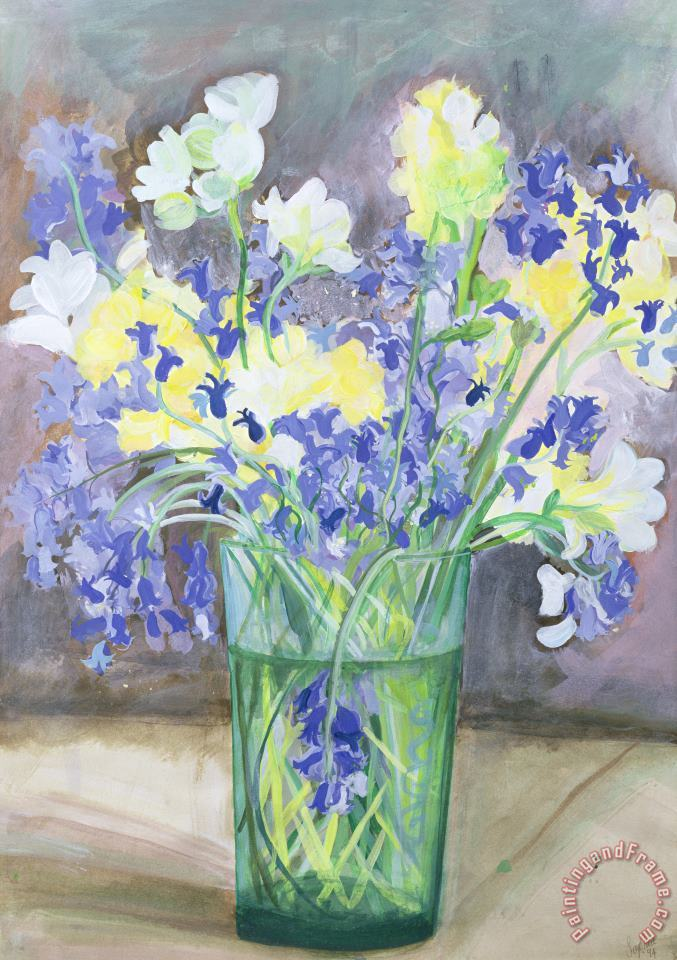 Sophia Elliot Bluebells And Yellow Flowers Art Painting