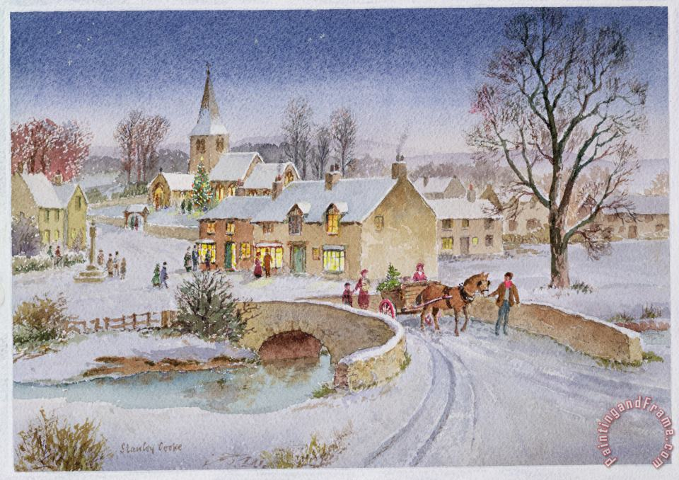 Christmas Eve In The Village painting - Stanley Cooke Christmas Eve In The Village Art Print
