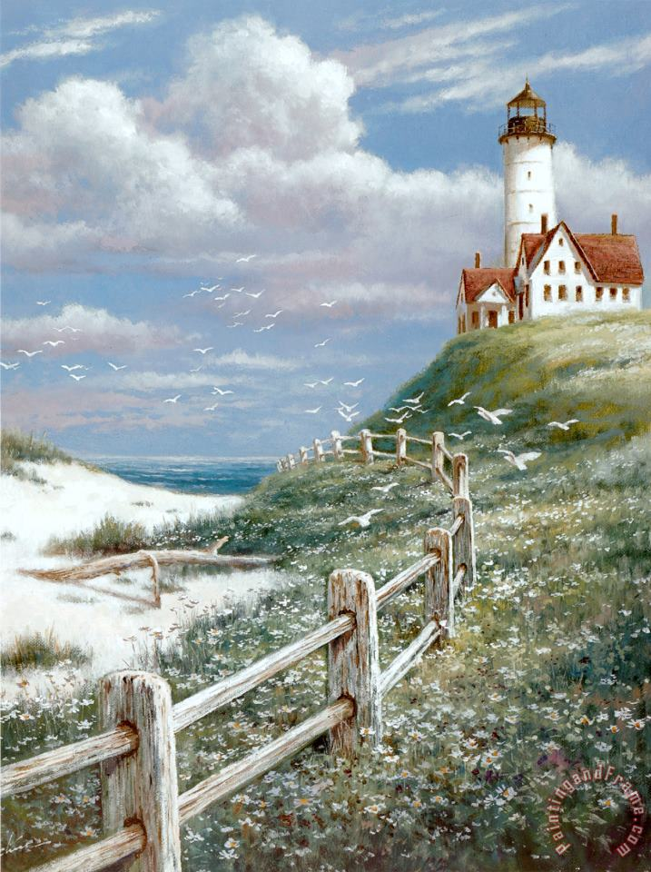 T. C. Chiu Lighthouse with Fence Art Print