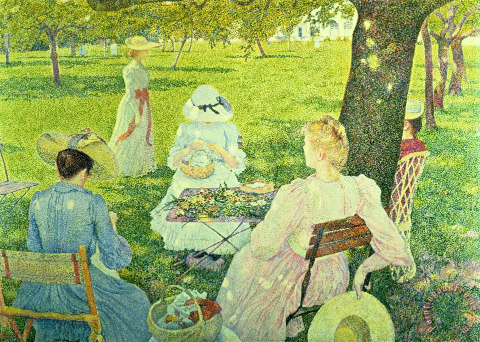 Theo van Rysselberghe Family in the Orchard Art Print