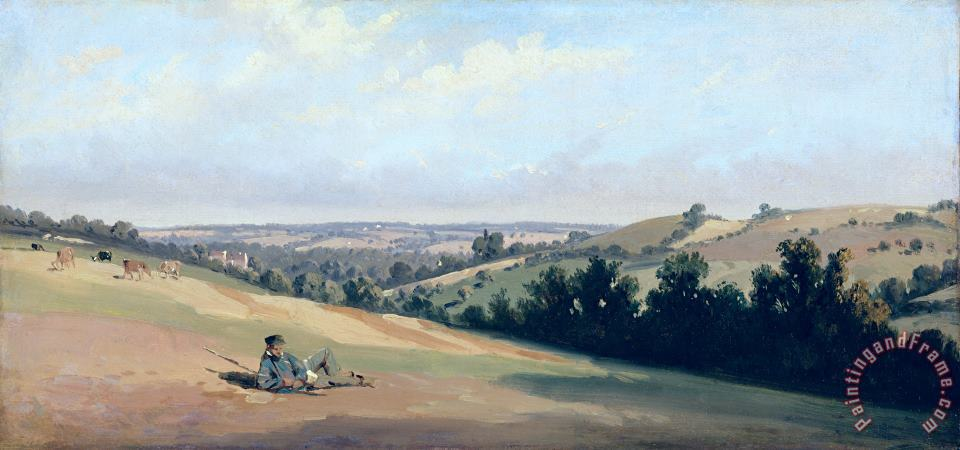 Young Man Reclinging on the Downs painting - Theodore Caruelle d Aligny Young Man Reclinging on the Downs Art Print