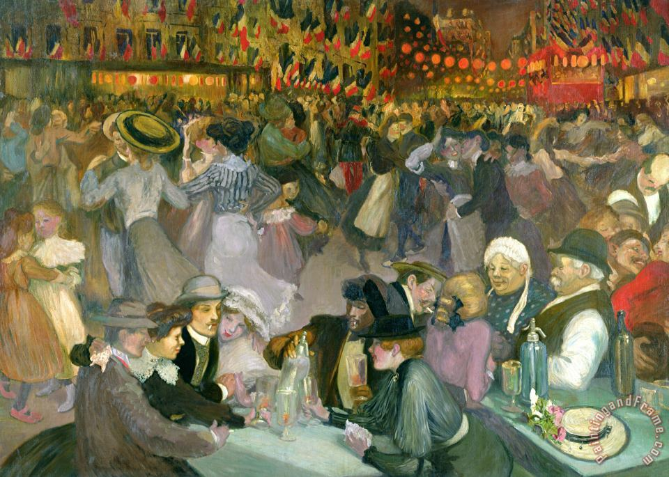 Theophile Alexandre Steinlen Ball on the 14th July Art Painting