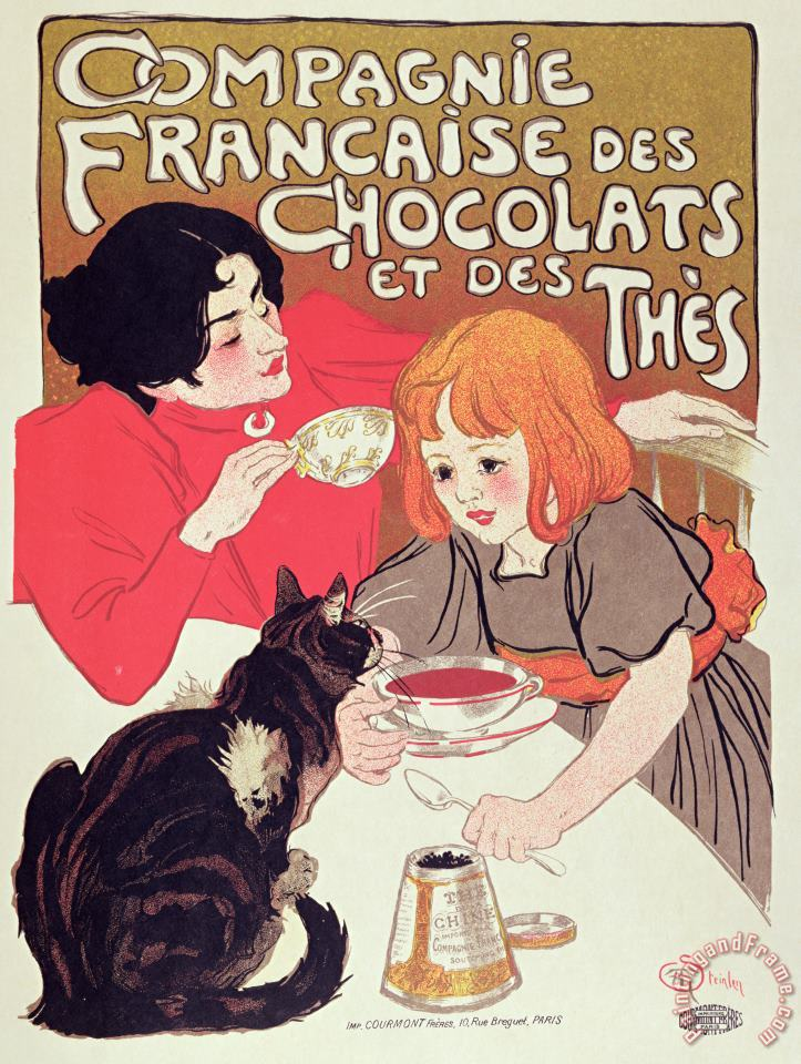 Poster Advertising The Compagnie Francaise Des Chocolats Et Des Thes painting - Theophile Alexandre Steinlen Poster Advertising The Compagnie Francaise Des Chocolats Et Des Thes Art Print