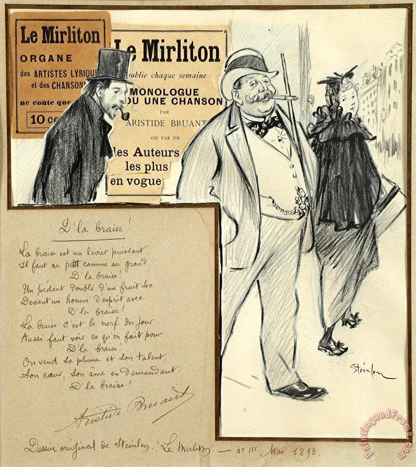 Study for The Cover of The Journal Le Mirliton (the Kazoo) painting - Theophile Alexandre Steinlen Study for The Cover of The Journal Le Mirliton (the Kazoo) Art Print