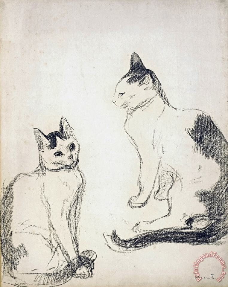 Theophile Alexandre Steinlen The Two Cats Art Print