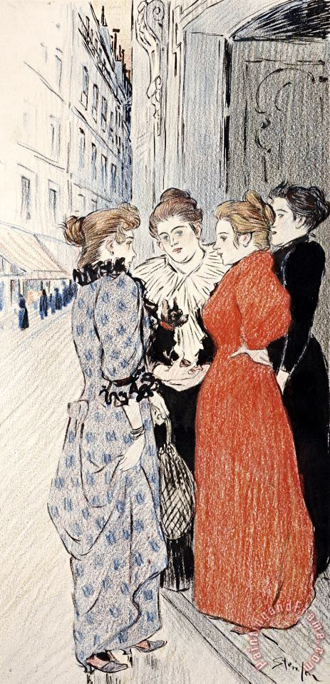 Women Conversing in The Street painting - Theophile Alexandre Steinlen Women Conversing in The Street Art Print