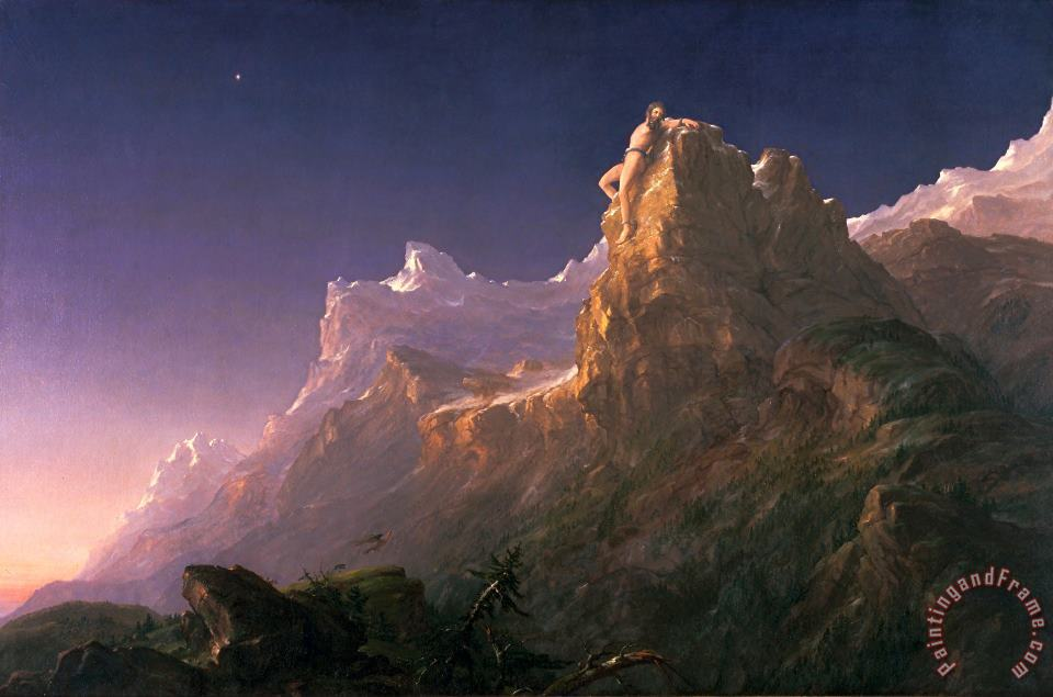 Prometheus Bound painting - Thomas Cole Prometheus Bound Art Print