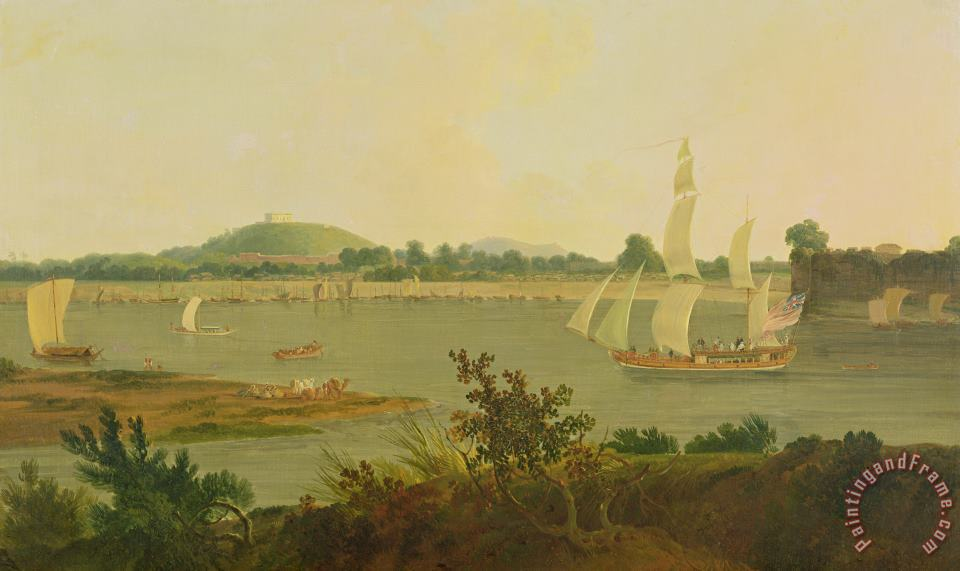 Pinnace Sailing Down the Ganges past Monghyr Fort painting - Thomas Daniell Pinnace Sailing Down the Ganges past Monghyr Fort Art Print