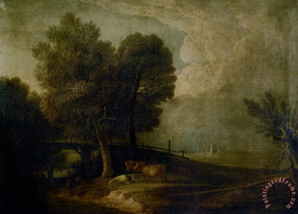 Figures with Cattle in a Landscape painting - Thomas Gainsborough Figures with Cattle in a Landscape Art Print