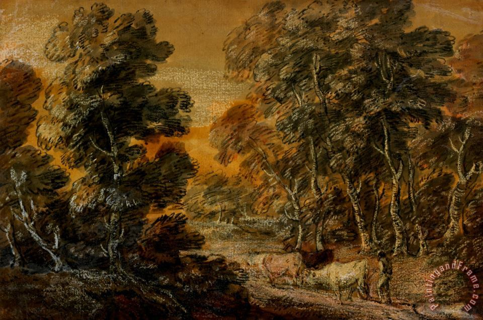 Thomas Gainsborough Wooded Landscape With Herdsman And Cattle Art Print