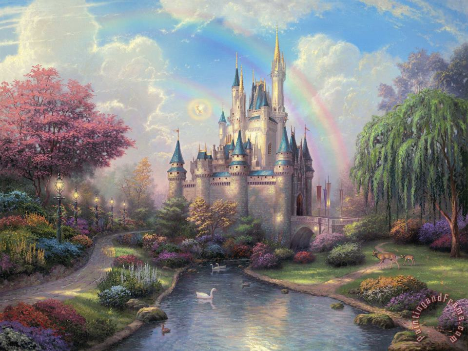 Thomas Kinkade A New Day at The Cinderella Castle Art Print
