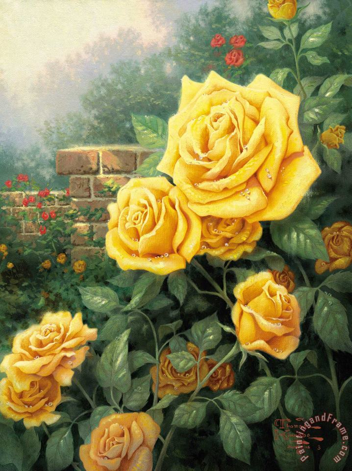 Thomas Kinkade A Perfect Yellow Rose Art Painting