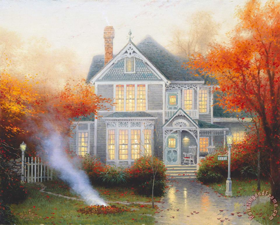 Amber Afternoon painting - Thomas Kinkade Amber Afternoon Art Print