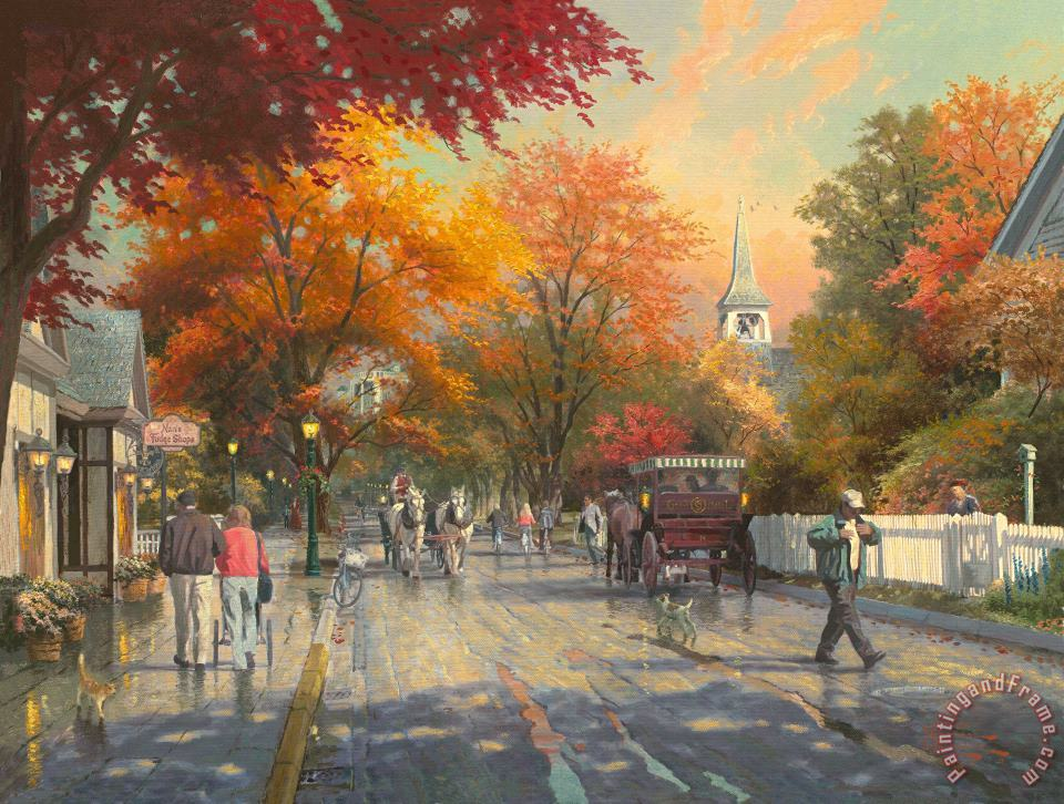 Thomas Kinkade Autumn on Mackinac Island Art Print