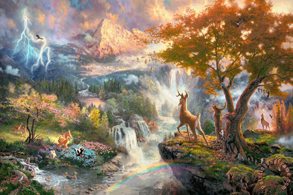 Bambi's First Year painting - Thomas Kinkade Bambi's First Year Art Print