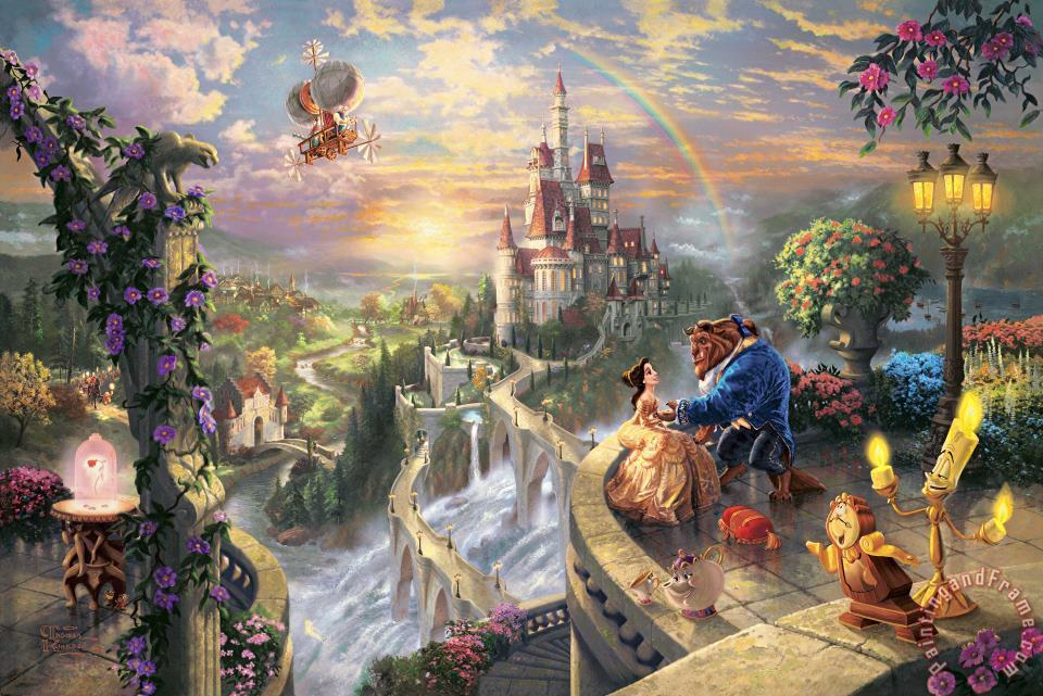 Thomas Kinkade Beauty And The Beast Falling in Love Art Print