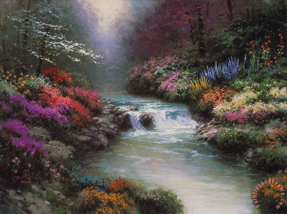 Thomas Kinkade Beside Still Waters Art Painting