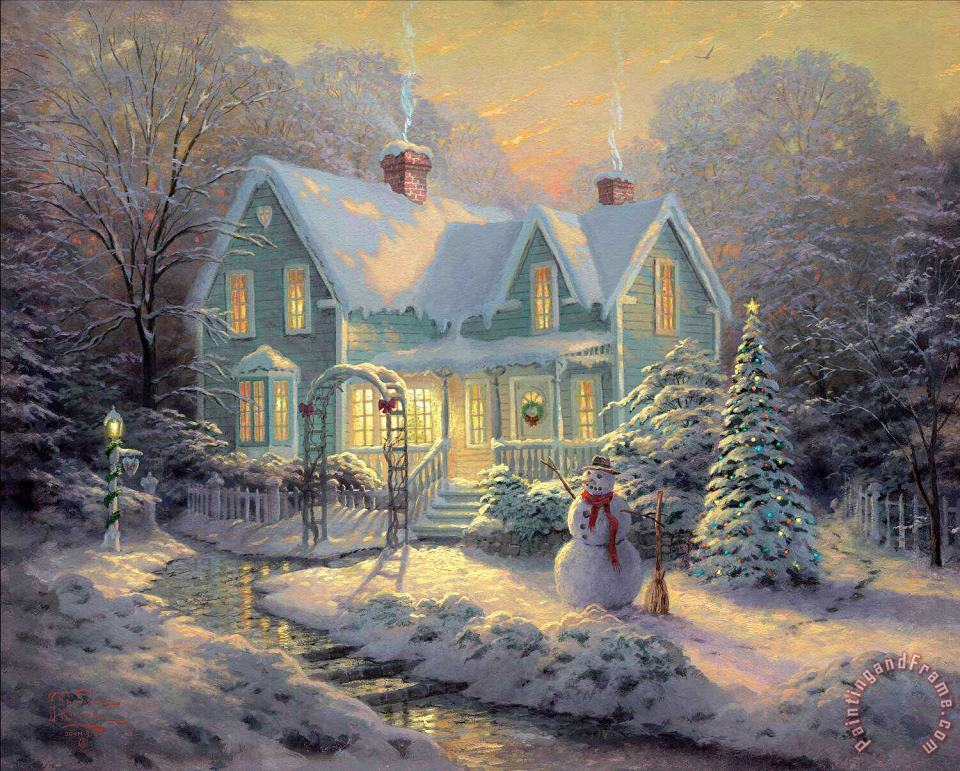 Blessings of Christmas painting - Thomas Kinkade Blessings of Christmas Art Print