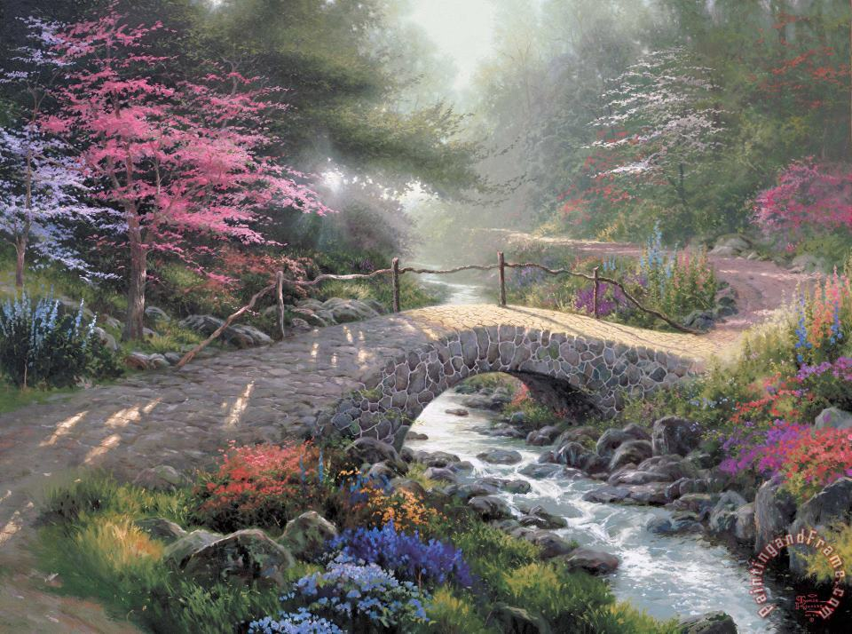 Bridge of Faith painting - Thomas Kinkade Bridge of Faith Art Print