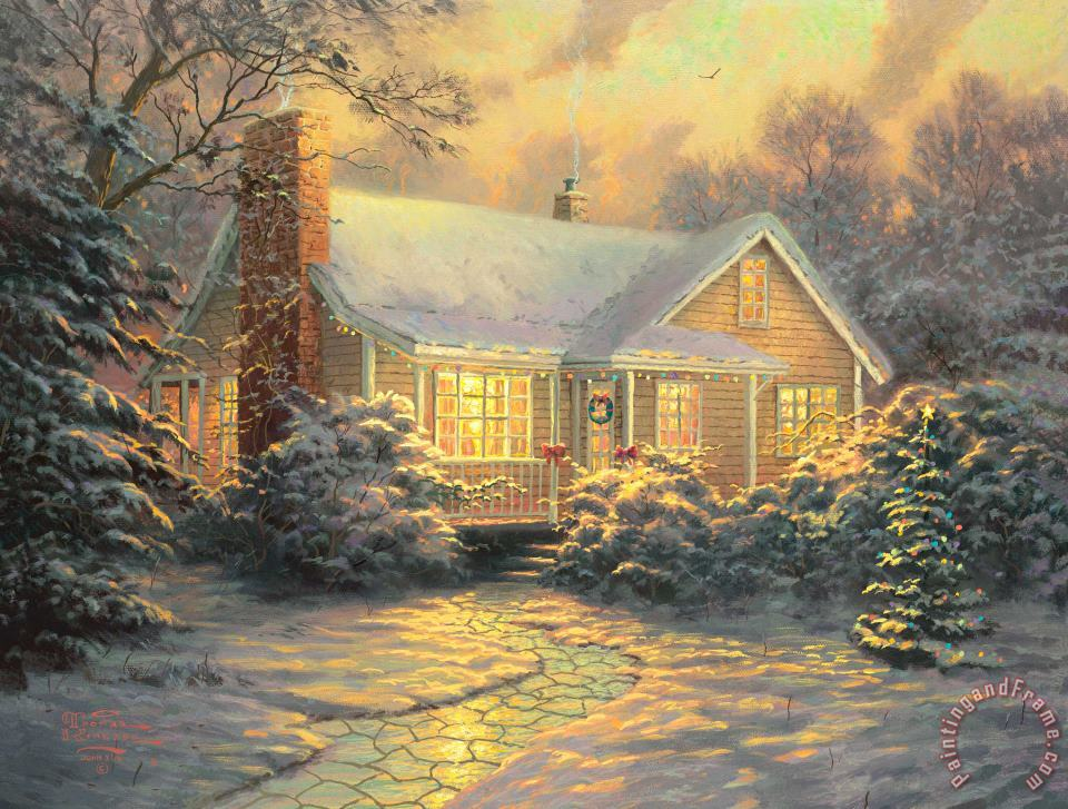 Christmas Cottage painting - Thomas Kinkade Christmas Cottage Art Print