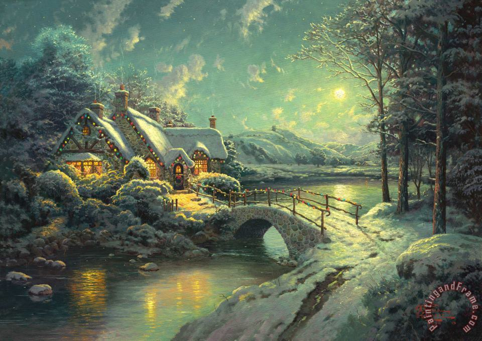 Christmas Moonlight painting - Thomas Kinkade Christmas Moonlight Art Print