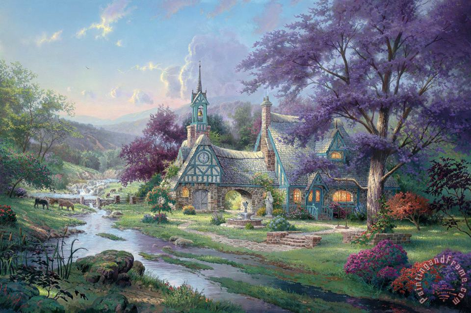 Clocktower Cottage painting - Thomas Kinkade Clocktower Cottage Art Print