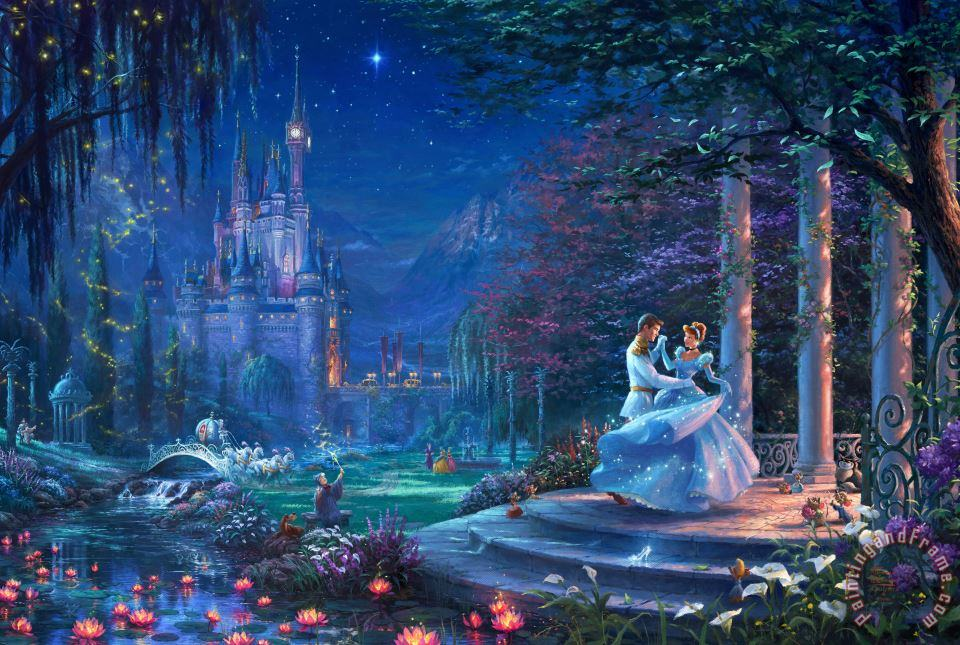 Dancing in The Starlight Cinderella painting - Thomas Kinkade Dancing in The Starlight Cinderella Art Print