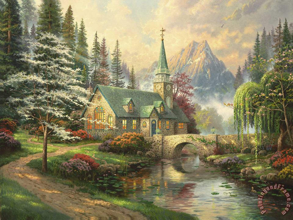 Dogwood Chapel painting - Thomas Kinkade Dogwood Chapel Art Print