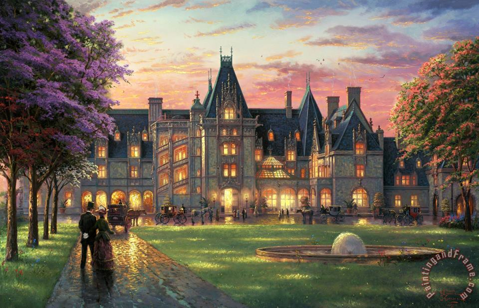 Elegant Evening at Biltmore painting - Thomas Kinkade Elegant Evening at Biltmore Art Print