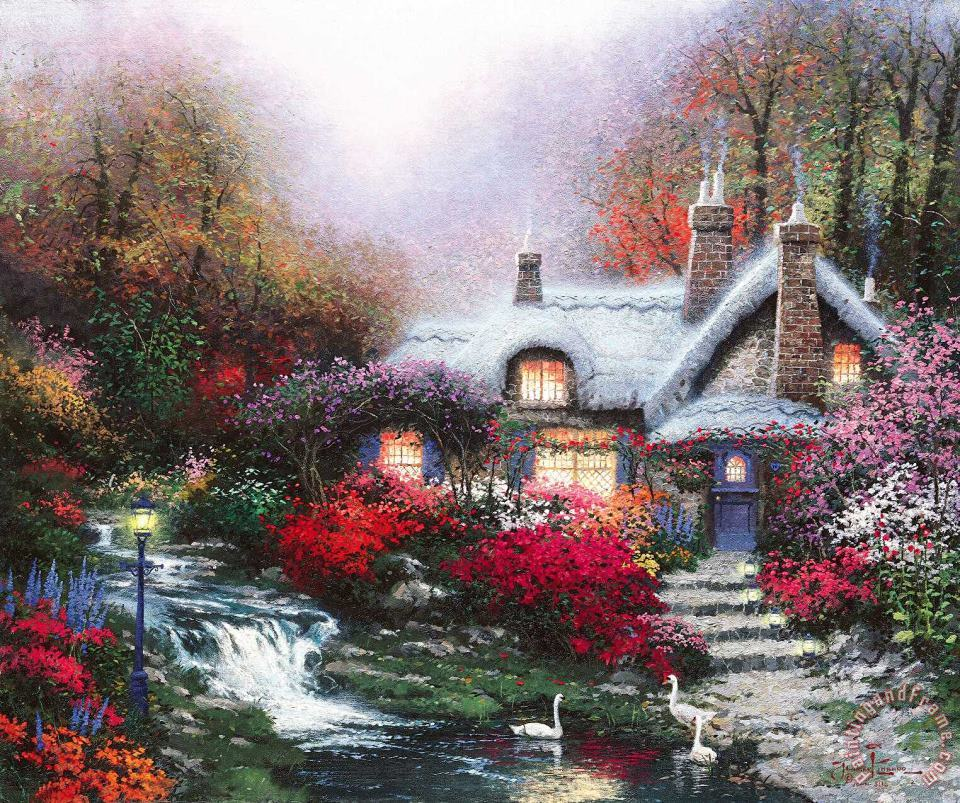 Thomas Kinkade Evening at Swanbrooke Cottage, Thomashire Art Painting