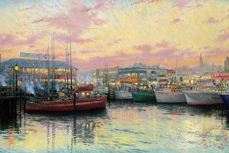 Fisherman's Wharf, San Francisco painting - Thomas Kinkade Fisherman's Wharf, San Francisco Art Print