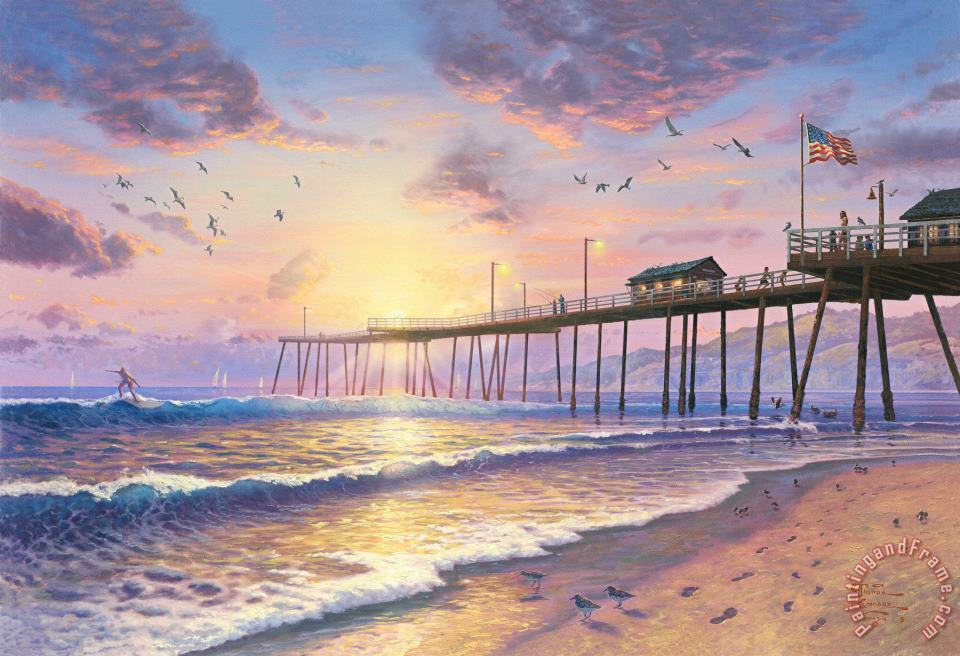 Thomas Kinkade Footprints in The Sand Art Print