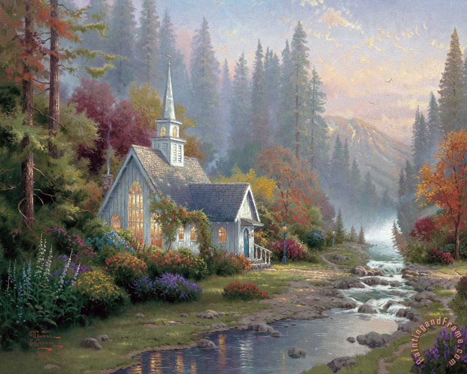 Forest Chapel painting - Thomas Kinkade Forest Chapel Art Print
