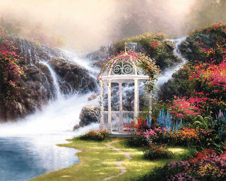 Hidden Arbor painting - Thomas Kinkade Hidden Arbor Art Print