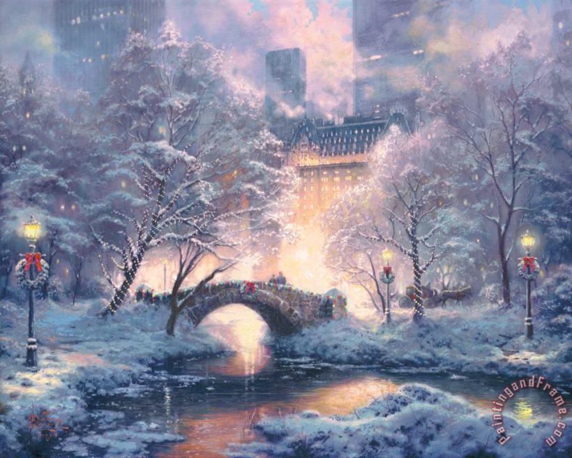 New York City Bridge Snow Winter Cityscape Central Park Art Print of Oil Painting