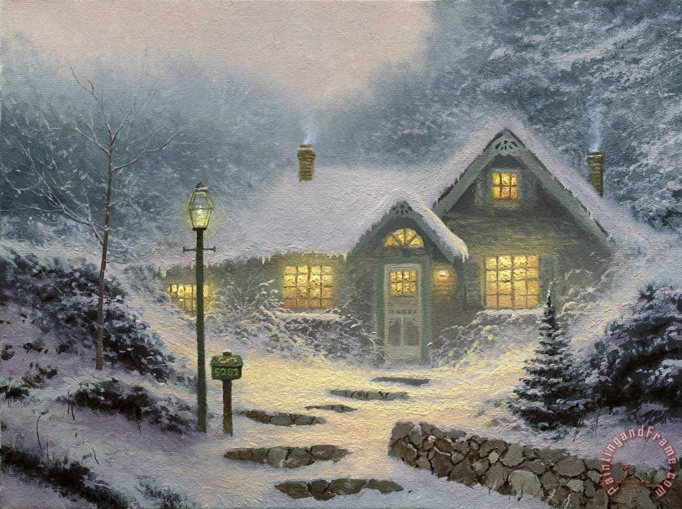 Home for The Evening painting - Thomas Kinkade Home for The Evening Art Print
