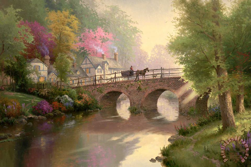 Thomas Kinkade Hometown Bridge Art Print