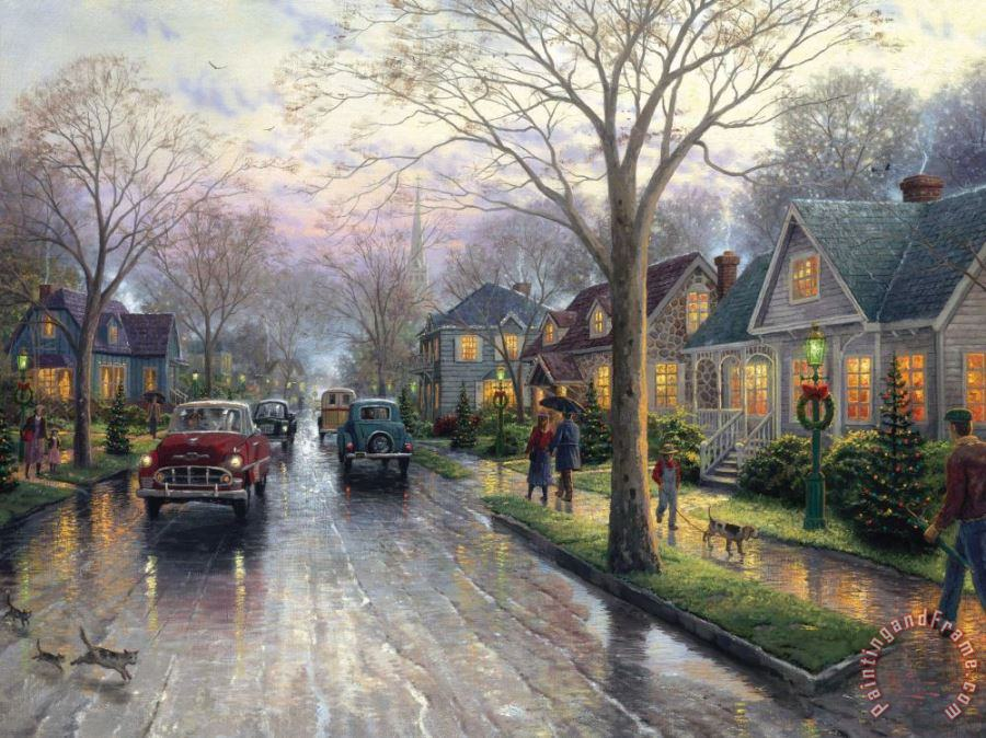 Hometown Christmas painting - Thomas Kinkade Hometown Christmas Art Print