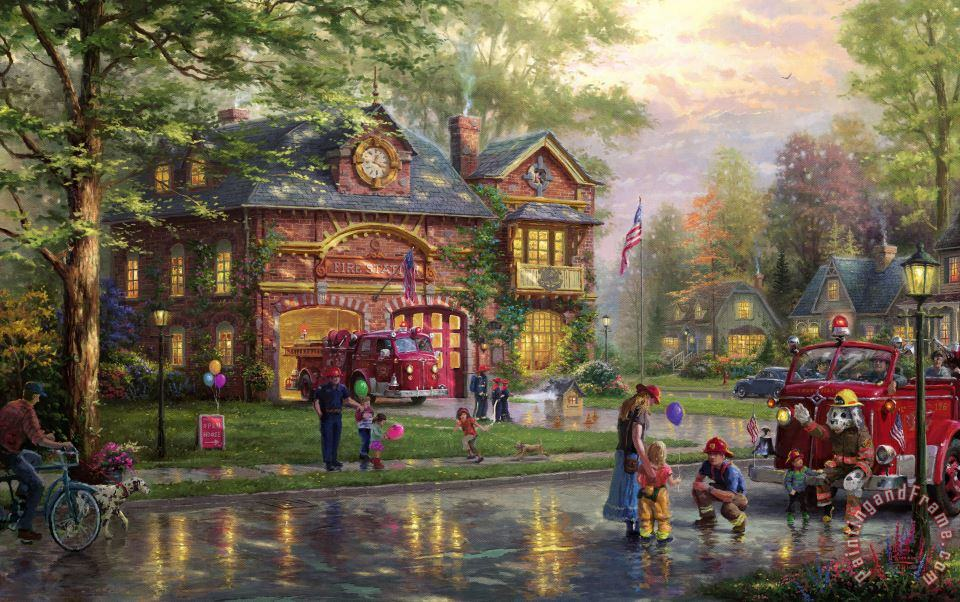 Thomas Kinkade Hometown Firehouse Art Print