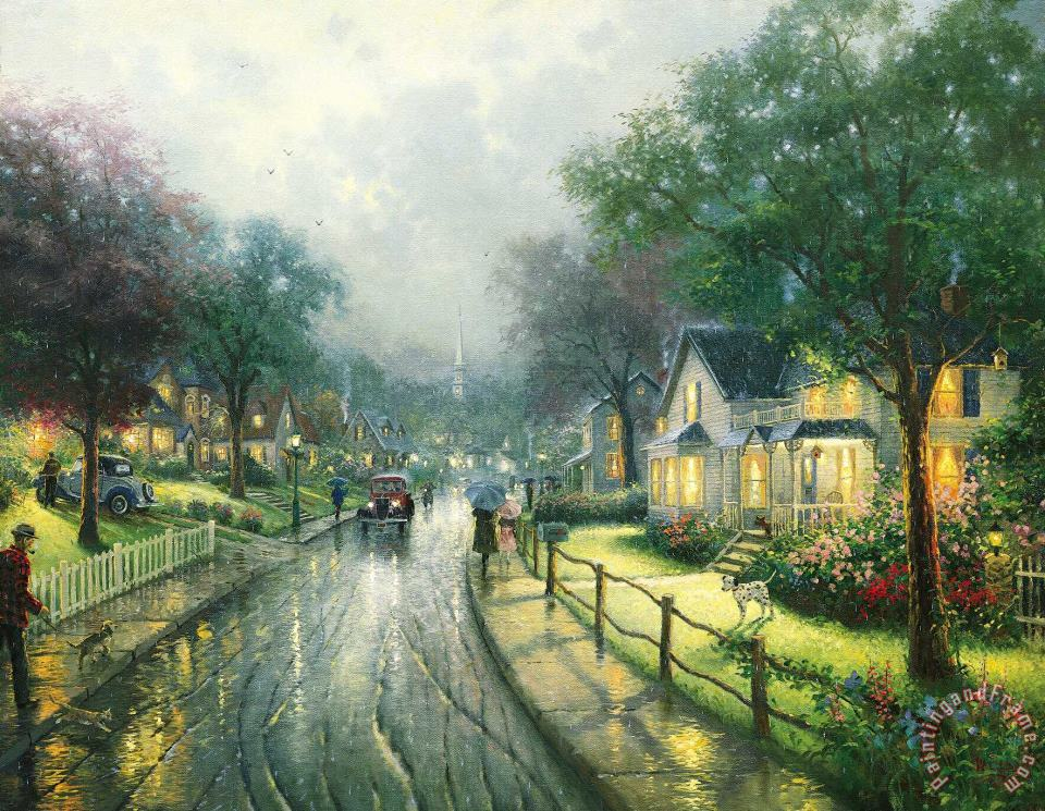 Hometown Memories painting - Thomas Kinkade Hometown Memories Art Print