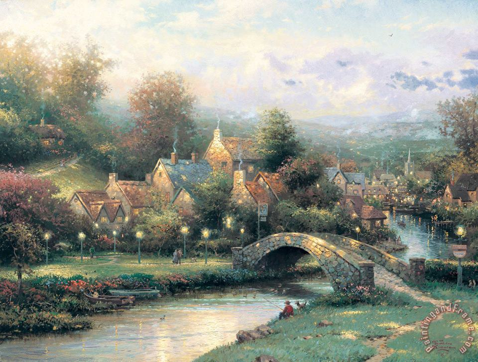 Lamplight Village painting - Thomas Kinkade Lamplight Village Art Print