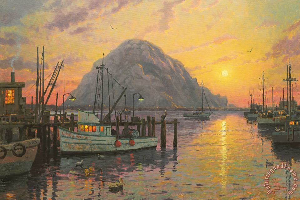 Morro Bay at Sunset painting - Thomas Kinkade Morro Bay at Sunset Art Print
