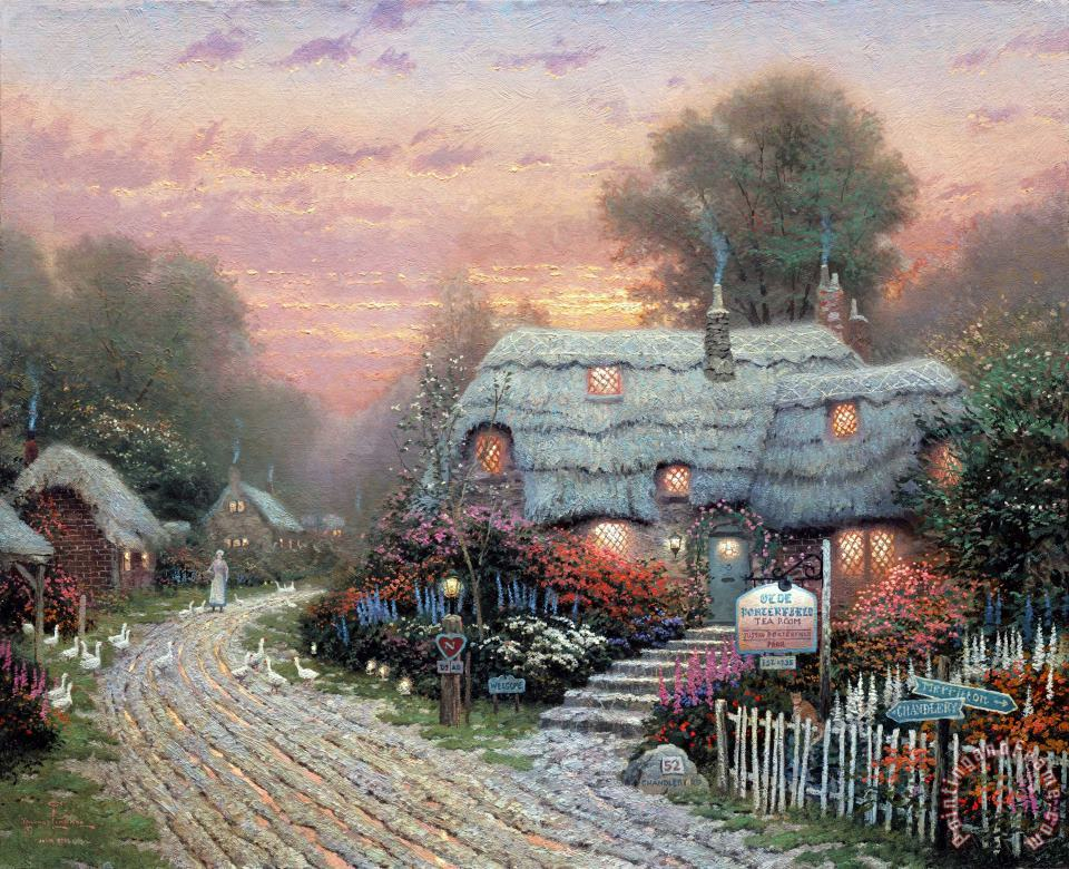 Olde Porterfield Tea Room painting - Thomas Kinkade Olde Porterfield Tea Room Art Print