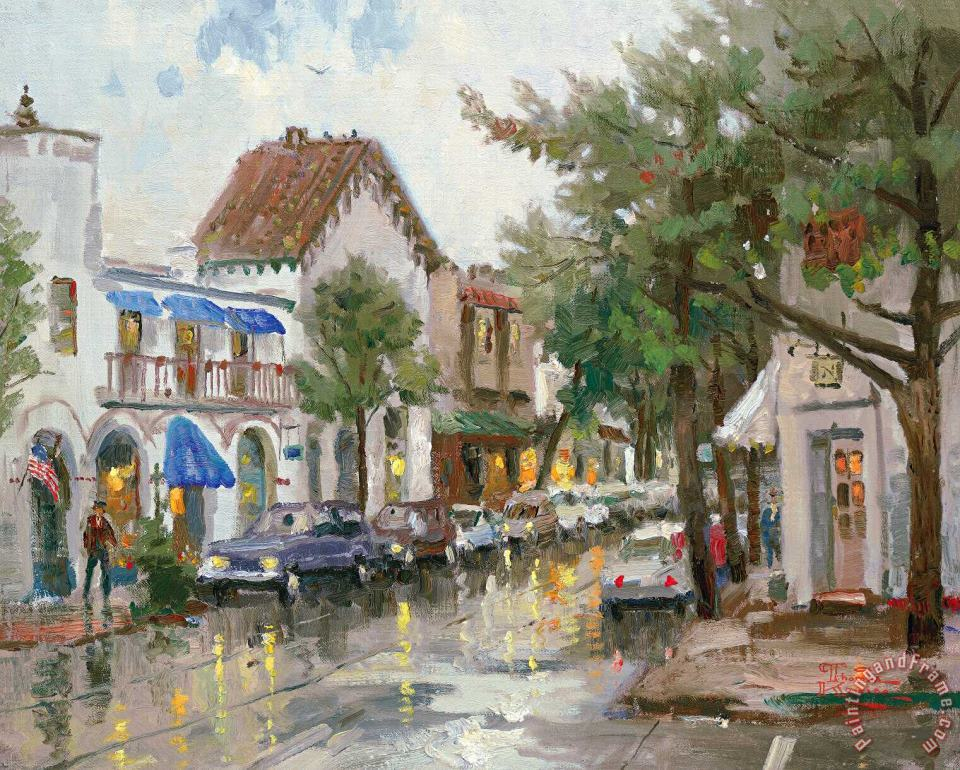 Rainy Day in Carmel painting - Thomas Kinkade Rainy Day in Carmel Art Print