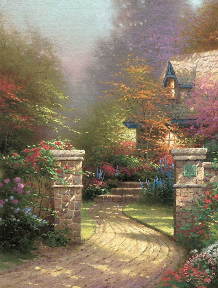 Rose Gate painting - Thomas Kinkade Rose Gate Art Print