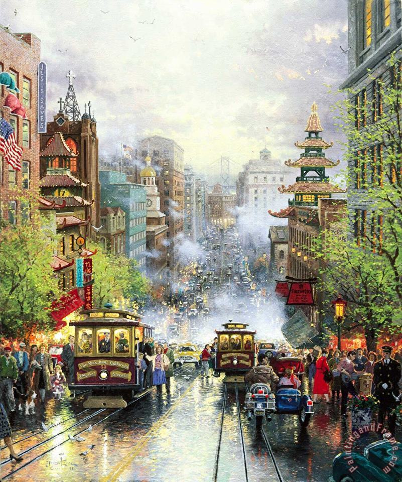 San Francisco, a View Down California Street From Nob Hill painting - Thomas Kinkade San Francisco, a View Down California Street From Nob Hill Art Print
