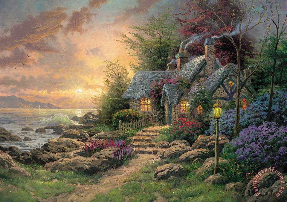 Seaside Hideaway painting - Thomas Kinkade Seaside Hideaway Art Print