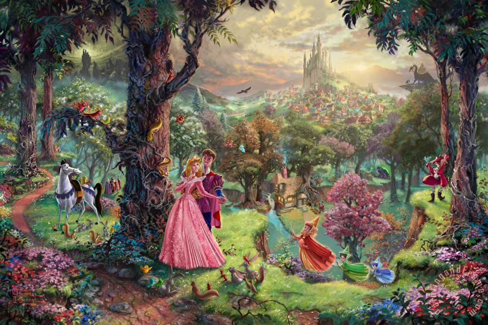 Sleeping Beauty painting - Thomas Kinkade Sleeping Beauty Art Print