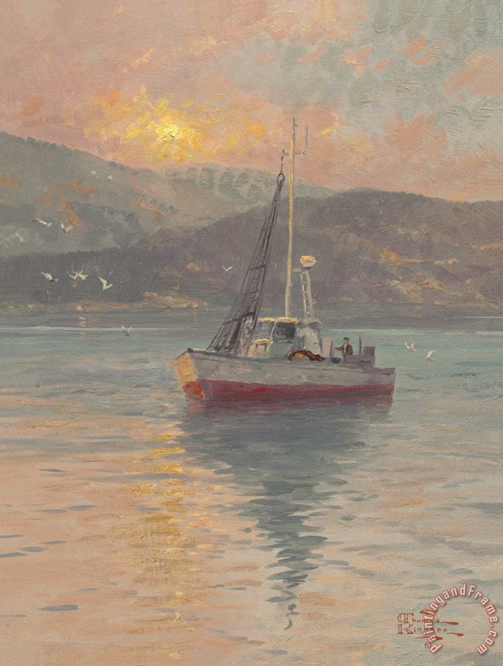 Thomas Kinkade Sunrise, Sea of Galilee Art Print